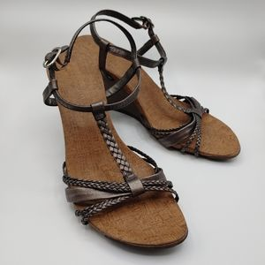 Kenneth Cole Reaction Leather wedge sandal Sz 10
